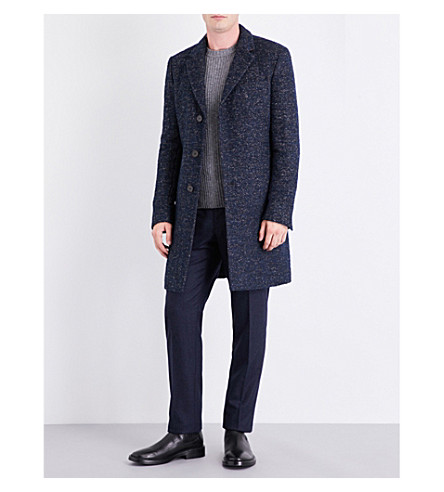 BOSS Herringbone cotton-blend coat (Bright+blue
