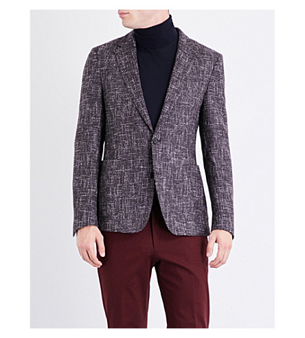 BOSS Regular-fit wool-blend tweed jacket (Dark+red