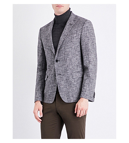 BOSS Regular-fit cotton and wool-blend tweed jacket (Black