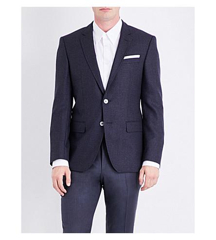 BOSS Regular-fit herrringbone wool jacket (Navy