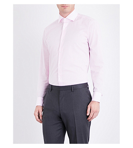 BOSS Gingham regular-fit cotton shirt (Light/pastel+pink