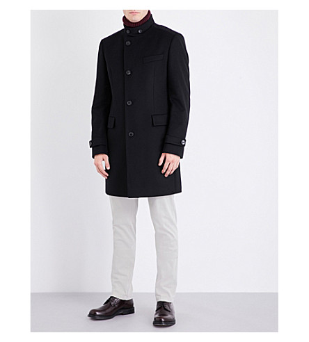 BOSS Wool and cashmere-blend coat (Black