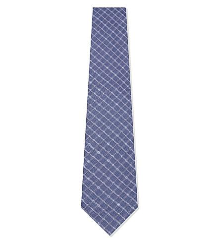 BOSS Checked silk tie (Navy