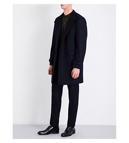 BOSS round-collar wool-blend coat (Dark+blue