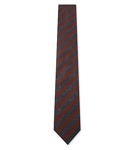 BOSS Stripe silk tie (Rust/copper