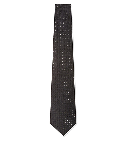 BOSS Tile pattern silk tie (Black
