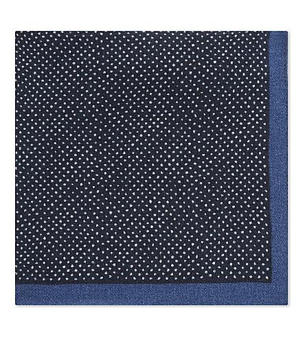 BOSS Micro-dot wool pocket square (Navy
