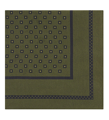 BOSS Square and dot silk pocket square (Open+green