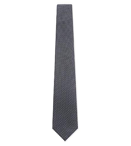BOSS Geometric-printed silk tie (Navy