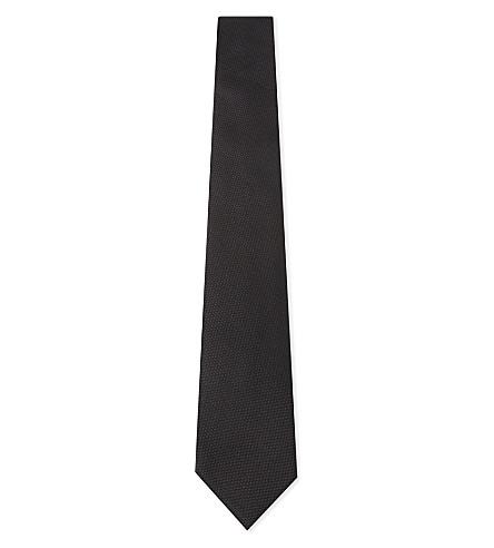 BOSS 织构薄真丝领带 (黑色