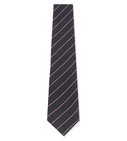 BOSS Stripe textured silk tie (Navy