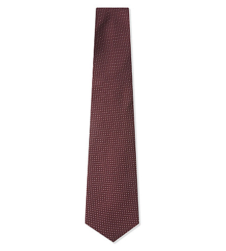 BOSS Micro-square and pindot silk tie (Dark+red