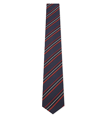 BOSS Diagonal-stripe silk tie (Medium+red