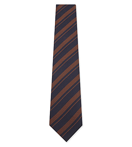 BOSS Diagonal-stripe and herringbone silk tie (Medium+brown