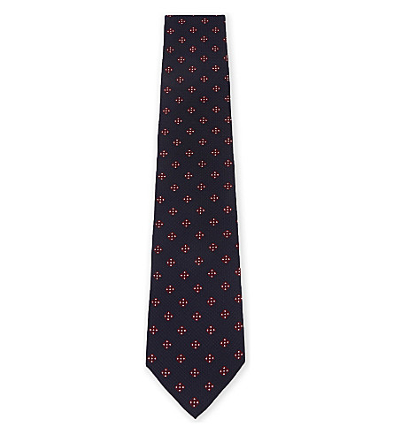 BOSS Tile-pattern textured  silk tie (Bright+red