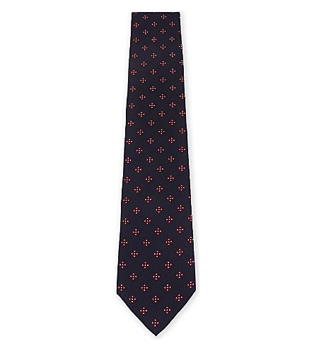 BOSS Tile-pattern textured silk tie (Bright+red