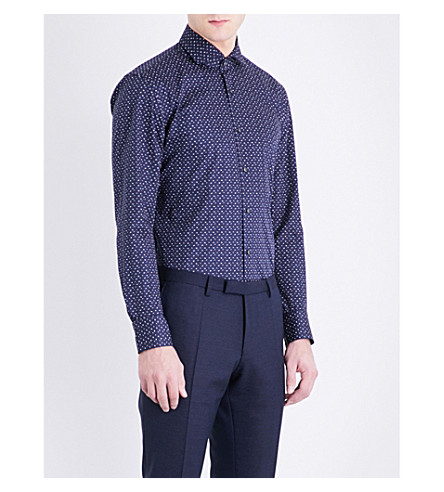 BOSS Ditsy floral-pattern slim-fit cotton shirt (Navy