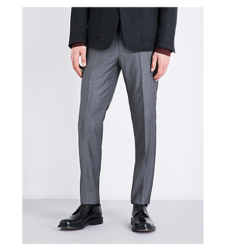 BOSS Slim-fit tapered wool trousers (Medium+grey