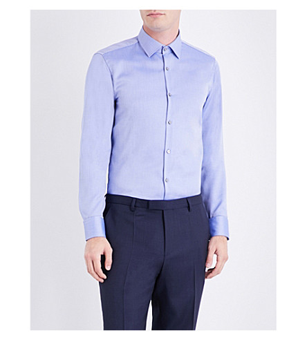 BOSS Birdseye pattern slim-fit cotton shirt (Medium+blue