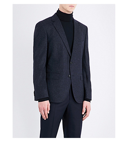 BOSS Elbow-patched slim-fit wool-blend jacket (Dark+blue