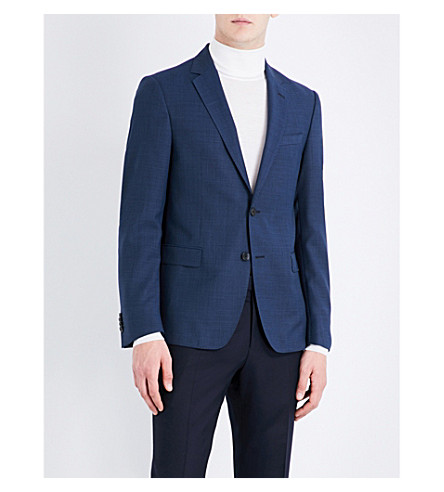 BOSS Twill-weave slim-fit wool jacket (Navy