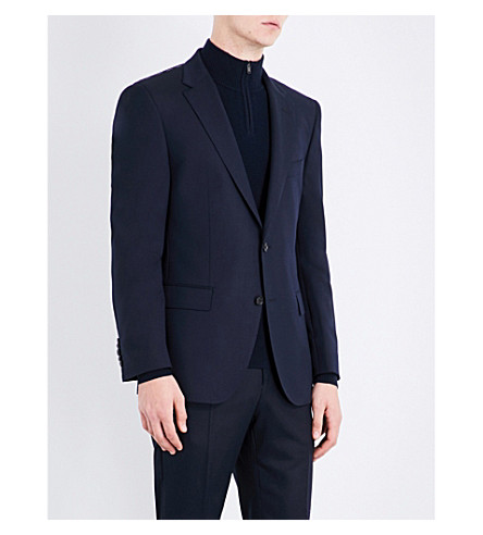 BOSS Slim-fit wool and silk jacket (Dark+blue