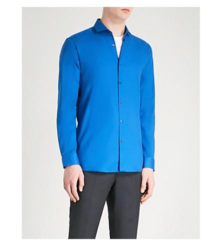 HUGO Extra slim-fit cotton shirt (Open+blue