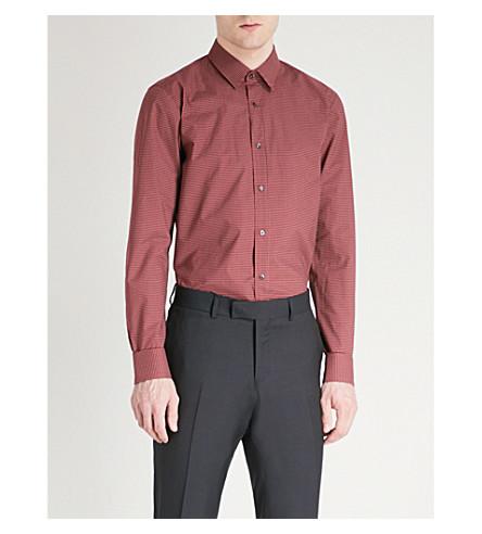 HUGO Geometric-patterned extra slim-fit cotton shirt (Dark+red