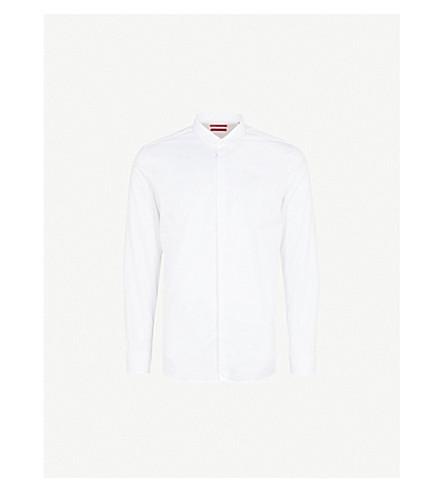 HUGO Extra slim-fit cotton-twill shirt (Open+white