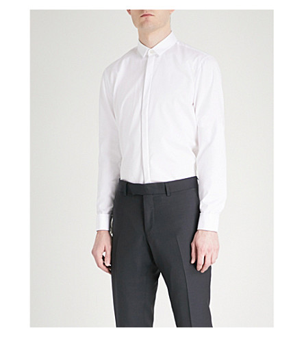 HUGO Extra slim-fit cotton-twill shirt (Open+white