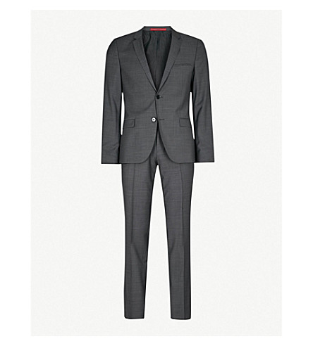 HUGO Grained-weave tailored-fit wool suit (Dark+grey