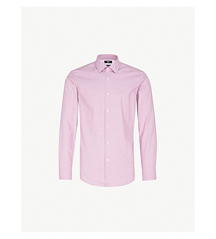 BOSS Houndstooh-patterned slim-fit cotton shirt (Dark+pink