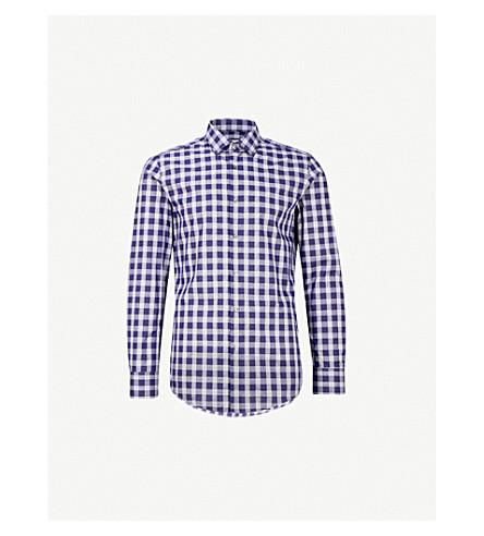 BOSS Checked slim-fit cotton shirt (Navy