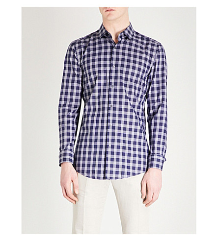 BOSS Checked slim-fit cotton shirt (Navy