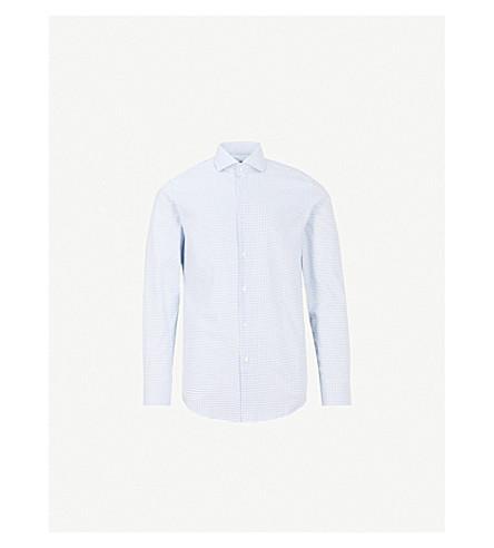 BOSS 微方形修身版型棉衬衫 (中 + 蓝)