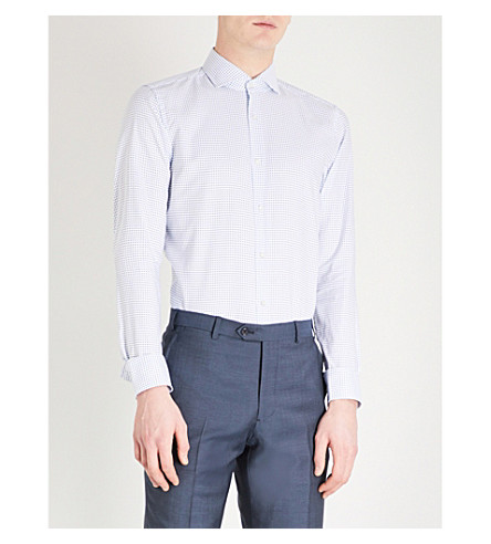 BOSS Micro-square slim-fit cotton shirt (Medium+blue