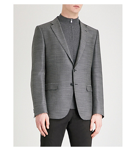 BOSS Slim-fit woven wool jacket (Open+grey