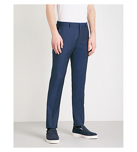 BOSS Slim-fit tapered wool trousers (Navy