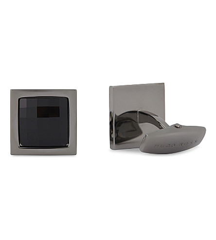 BOSS Square stone cufflinks (Black