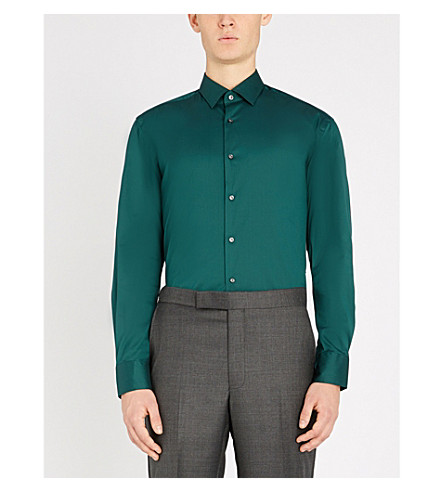 BOSS Slim-fit cotton-blend shirt (Open+green
