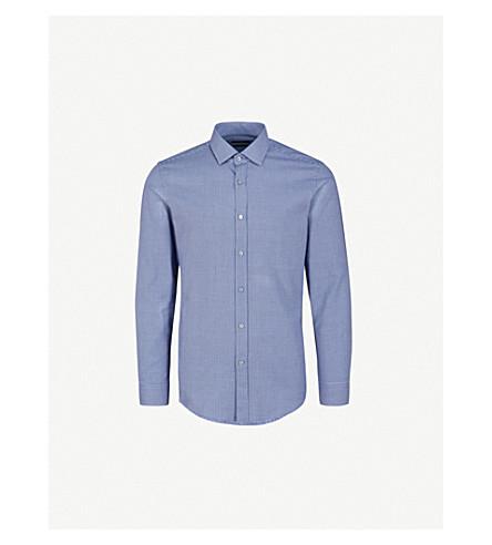 BOSS Textured-pattern slim-fit cotton shirt (Light/pastel+blue