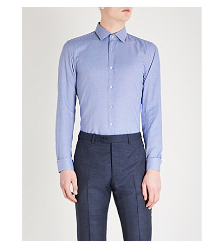 BOSS Textured-pattern slim-fit cotton shirt (Light/pastel+blue