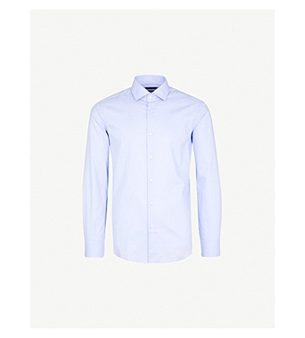 BOSS Geometric-pattern slim-fit cotton shirt (Light/pastel+blue