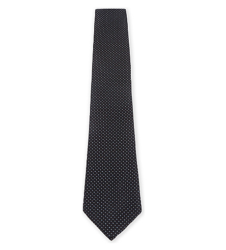 BOSS Micro-dot silk tie (Black