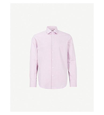 BOSS Micro-square slim-fit cotton shirt (Dark+pink