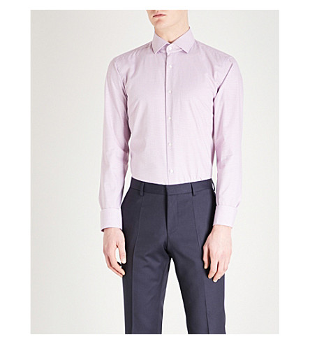 BOSS Micro-square slim-fit cotton shirt (Dark+pink