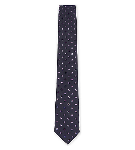 BOSS Circle-dot pattern slim silk tie (Navy