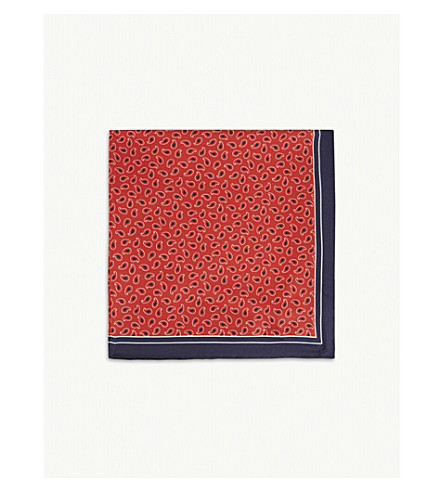 BOSS Paisley print silk pocket square (Bright+red