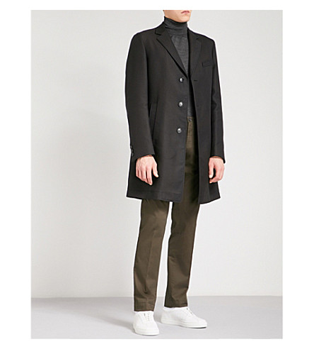 BOSS Single-breasted woven coat (Black