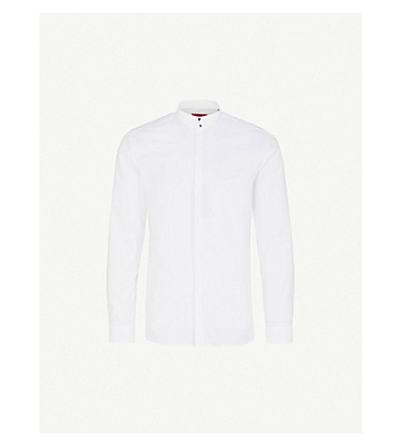HUGO Band-collar extra slim-fit cotton shirt (Open+white